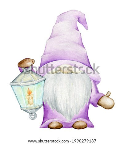 Cute dwarf holding a lantern, Watercolor clip art, cartoon style, on an isolated background.