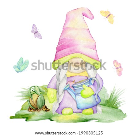 Cute dwarf, watering can, clearing, sprout. A watercolor concept on an isolated background, in a cartoon style.