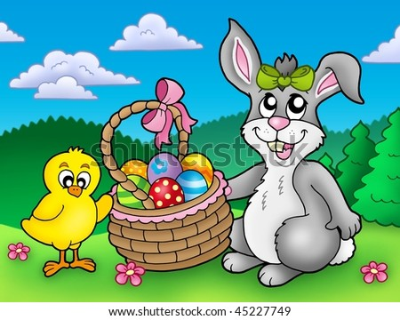 cute easter bunnies to colour in. stock photo : Cute Easter