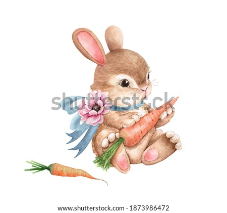 cute easter bunny with blue bow and carrot, watercolor illustration .hand painted for holidays and design