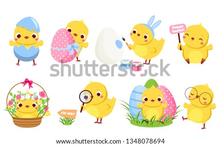Cute Easter chickens set. Cartoon chicks in different poses with eggs and flowers having fun. Isolated characters clip art for Easter design