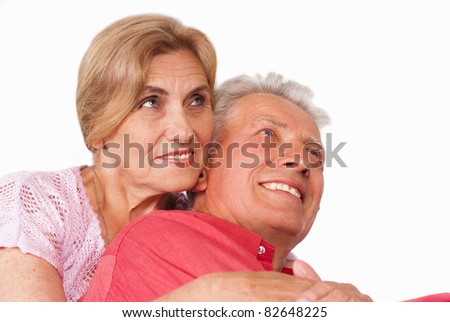 cute elderly couple on a white background
