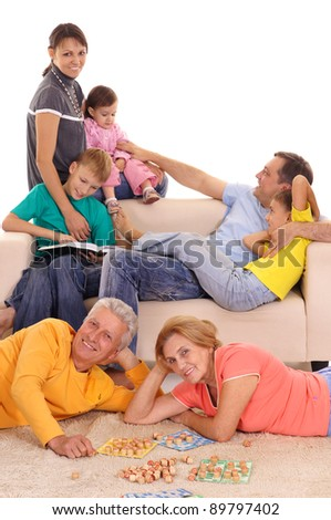 cute family having a fun at home