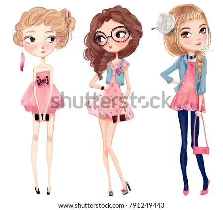 cute fashion cartoon girls