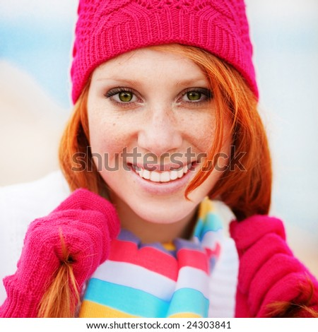 Cute fashion girl wearing winter clothing