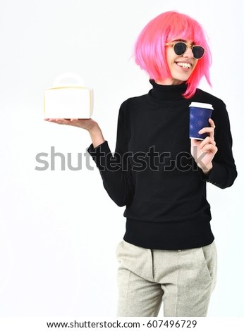 87fe39b3530 cute fashionable sexy woman or pretty young smiling happy girl in pink wig  and fashion glasses