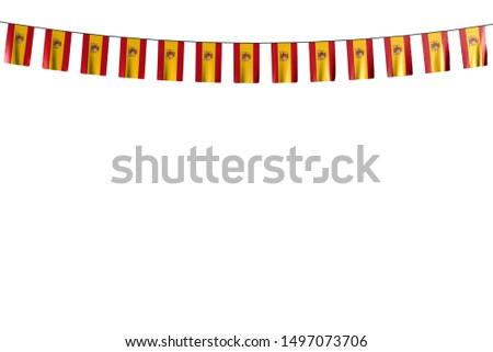 cute feast flag 3d illustration - many Spain flags or banners hangs on rope isolated on white