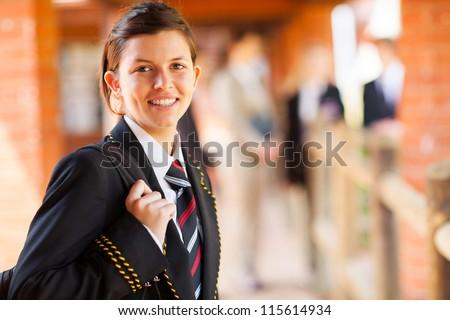 cute female high school student portrait