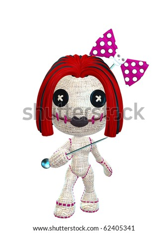 cute female voodoo doll with red hair and skull bow