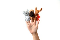 Cute finger puppet animals on hand isolated on a white background. Animals from Australia.