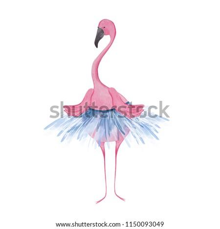Cute flamingo ballerina. Watercolor illustration