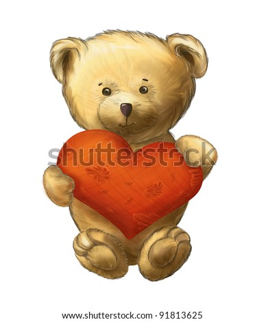 Cute fluffy bear with heart isolated on white background