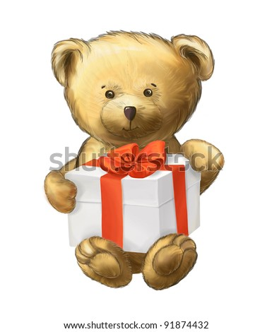 Cute fluffy bear with present isolated on white background