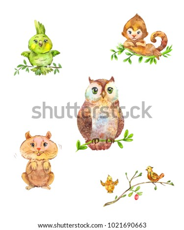 Cute forest animals and birds. Watercolor pets isolated on white
