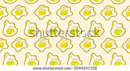 cute fried egg omlet pattern cute wallpaper pastel color seamless illustration drawing cartoon decorative background  Zdjęcia stock ©