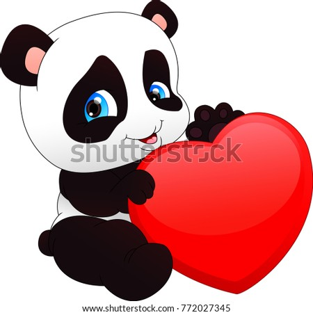 Cute funny baby panda  and red heart