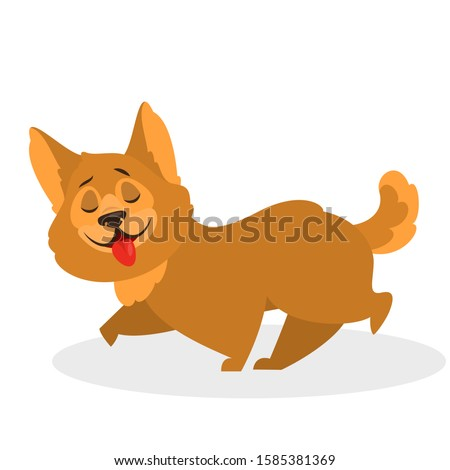 Cute funny dog walking. Puppy character with brown fur. Small domestic pet. Isolated  illustration in cartoon style