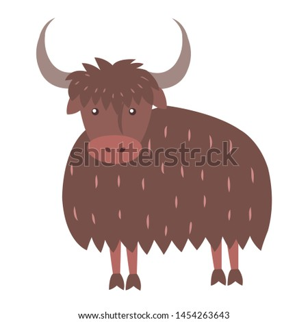 Cute funny long-haired himalayan bull wold or yak raster flat cartoon sticker isolated on white. domestic animal pet illustration for game counters price tags