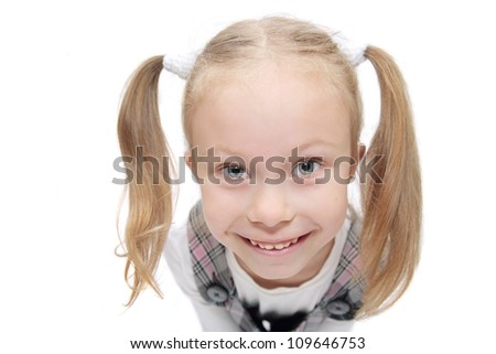 cute funny schoolgirl making faces