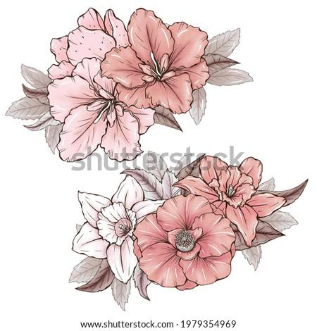 Cute garden flowers bouquets, wedding design elements, beige and pink florals, garden botanica Foto d'archivio ©