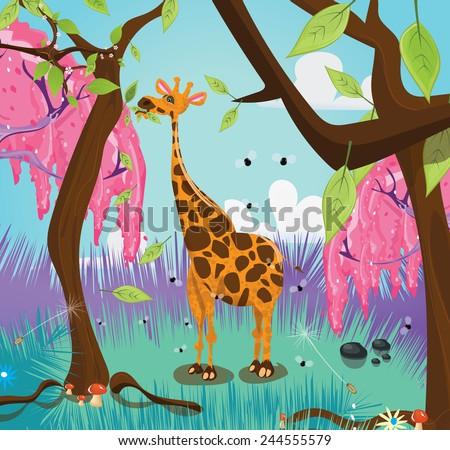 Cute giraffe eating leaves. A cute and funny tall giraffe eating leaves from a tall tree.