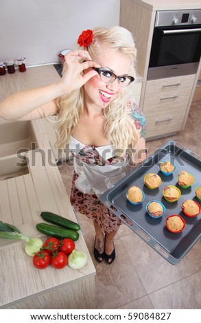 Cute girl baking muffins, similar available in my portfolio
