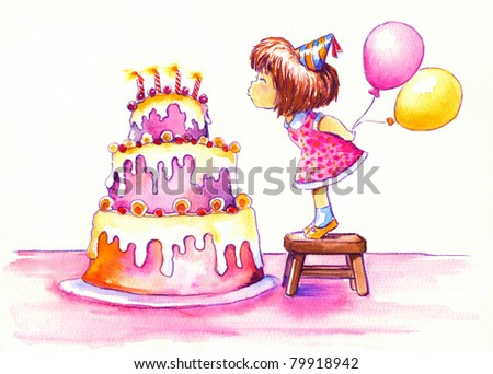 Cute girl blowing out the candles of her huge birthday cake.Picture I have created with watercolors.