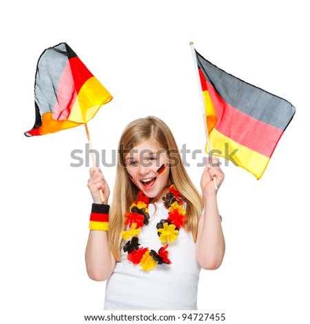 cute girl cheering with german flags for german team