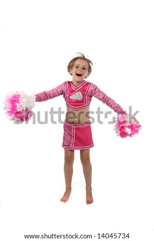 cute girl doing a cheering routine in a pink outfit and pom poms