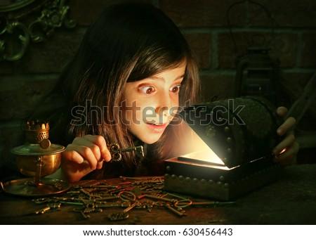 Cute girl found a treasure #630456443