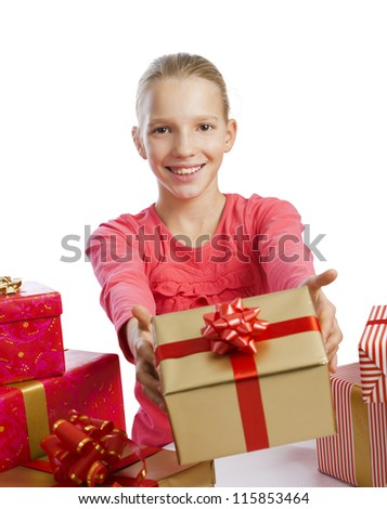 Cute girl giving a present