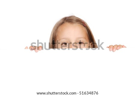 Cute girl holding a blank sign over white background