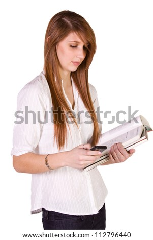Cute Girl Holding Books and Magazine - Isolated Background