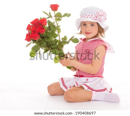 Cute girl in Panama is sitting with a bouquet of roses