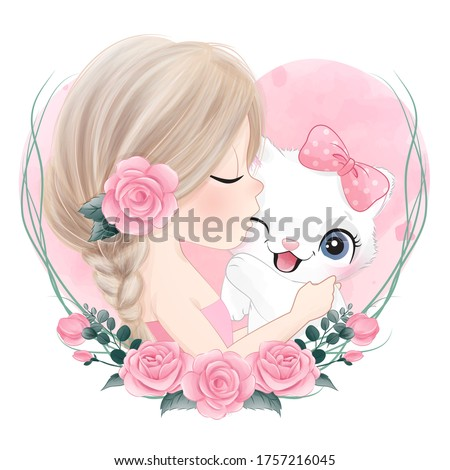 Cute girl kissing a little kitty with watercolor illustration Stock foto ©