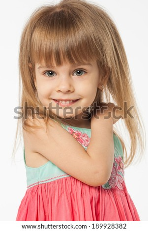 Cute girl on white background #189928382