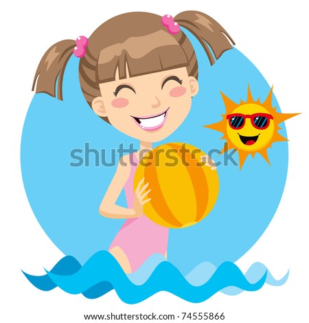 Cute girl playing with beach ball on the water enjoying a sunny day