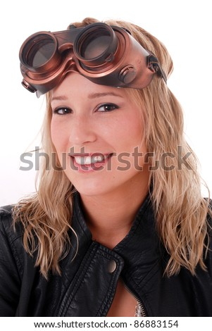 Cute Girl smiling wearing Steam Punk Goggles and Aviation Hat