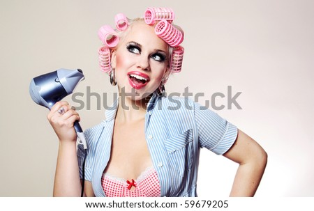 Cute girl styling hair, similar available in my portfolio