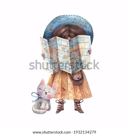 Cute girl traveler with a kitten looks at the map. Watercolor illustration for postcard, banner, book isolated on white background. A cute girl and a kitten in a journey.