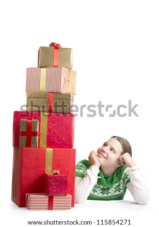 Cute girl with a bunch of presents
