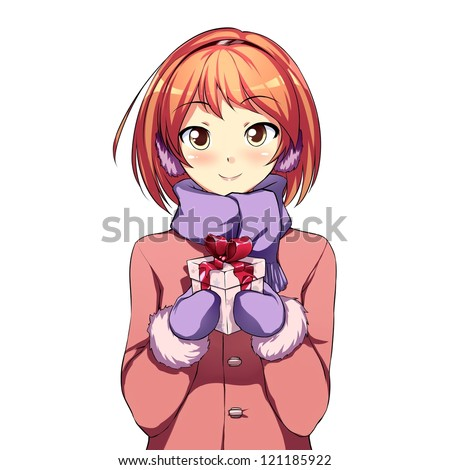 Stock Photo Cute girl with a gift box
