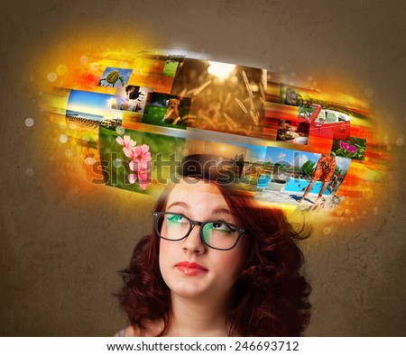 Cute girl with colorful glowing photo memories concept