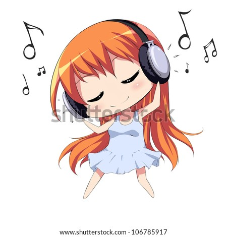 Cute girl with headphones listening to music and dancing