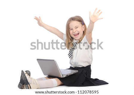 Cute girl with laptop on white - stock photo