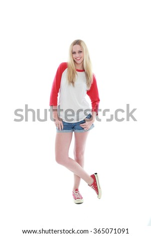 d7caa6ffbfd81 Beautiful blonde teenager in short shorts jeans isolated on white ...