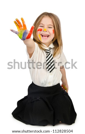 Cute girl with paint on white