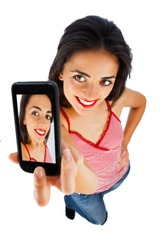 Cute girl with red lipstick taking selportrait with phone - isolated on white.