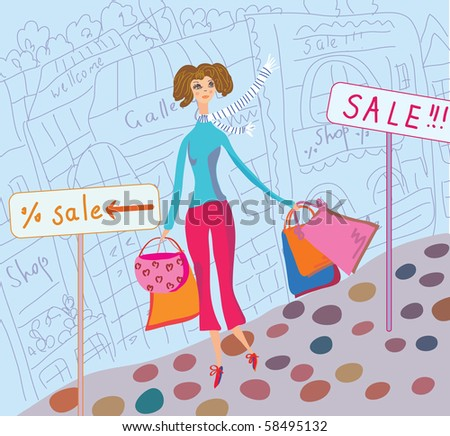 Cute girl with shopping bags in the city illustration