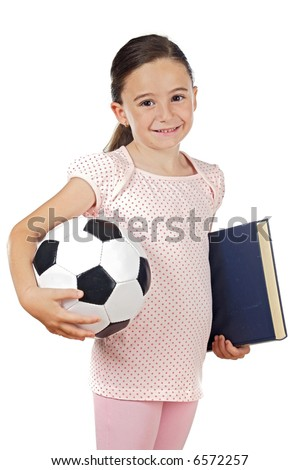 Cute girl with soccer ball and book over white background